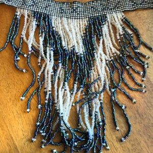 Vintage Jewelry - Statement waterfall beaded choker necklace EVC